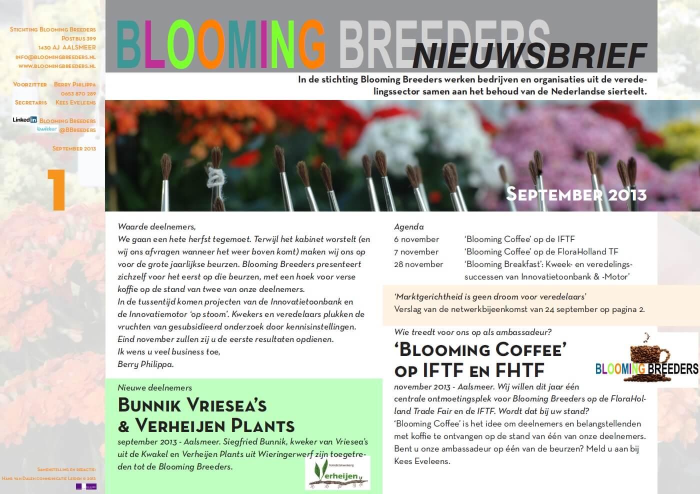 nieuwsbrief Blooming Breeders